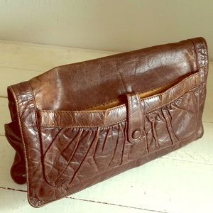 Vintage boho leather clutch India 7 compartments